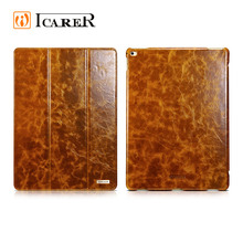 ICARER Hot Selling Oil Wax Vintage Genuine Leather Folio Case for iPad Pro 12.9