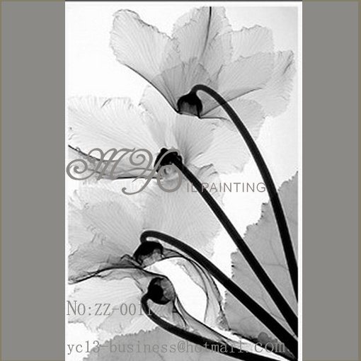 hot selling black and white flower oil painting