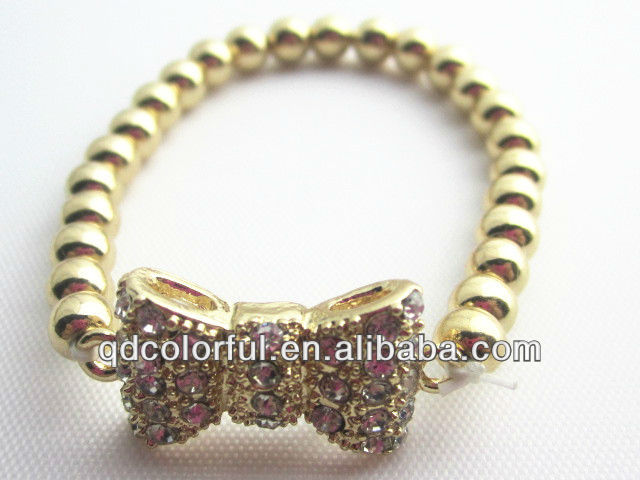 YB1958 gold plated with shine acrylic stone bow pattern cute design wholesale charm bracelet