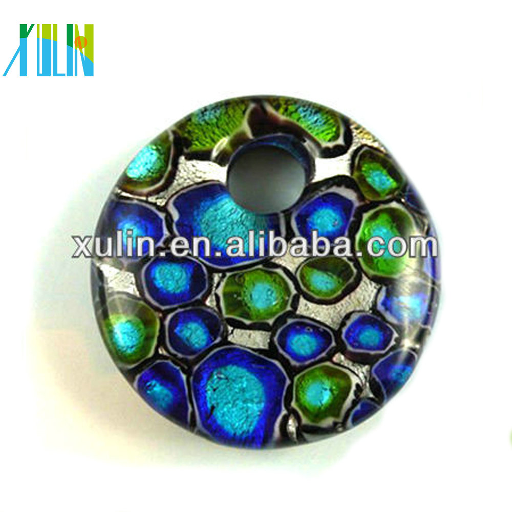 2013 newest mixed colors round shape dichroic beads pendants