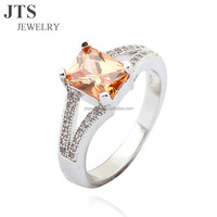 JTS New Design Champagne Cubic Zirconia Ring Copper and 925 Sterling Silver Rings Three Colors for Option R350