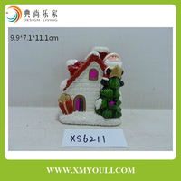 Hot sales lighted ceramic house christmas santa claus tree