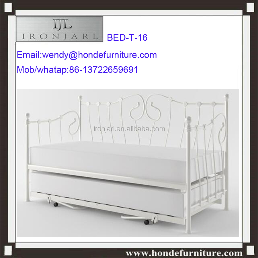 Twin Daybed Trundle Spare Bed Metal White Frame Loft Bunkbeds