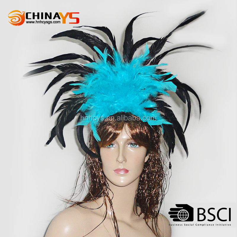 Manufacture Supplier AAA quality black feather indian headdress for women