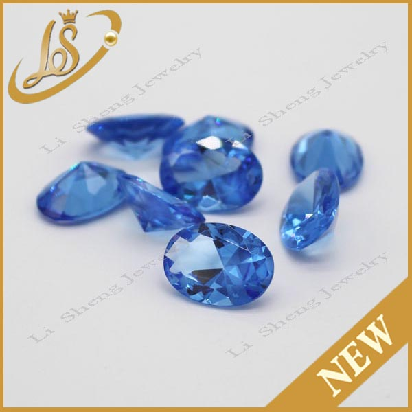 Hot sale synthetic gems AAA quality oval shape glass stones for jewelry
