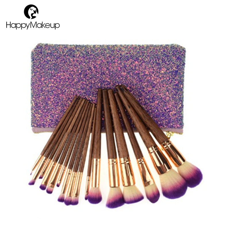 Hot15pcs Portable high quality Black Handle custom logo makeup brushes Kit With PU zipper bag
