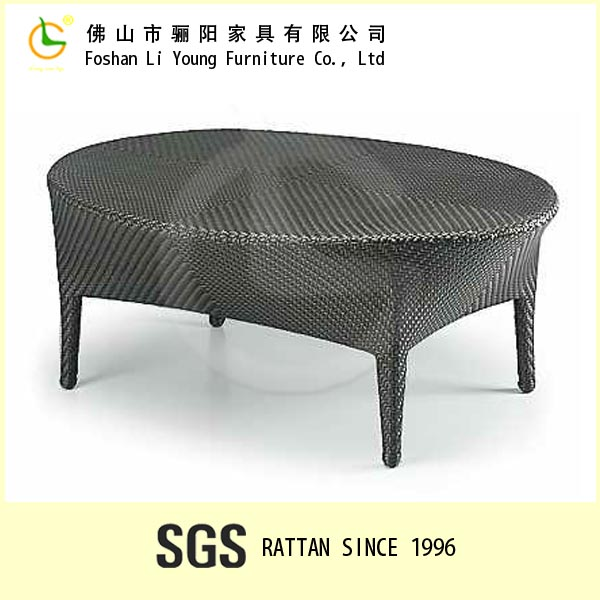Antique Design Living Room Furniture Waterprof Tea Table with Tempered Glass Top Oval Rattan Wicker Table Plastic Outdoor Table