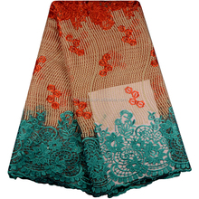 2017 Teal Add Orange Color African Net Lace Fabric African Quality Lace For Party Dress African Women 0323-13