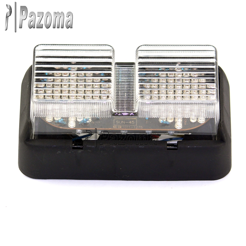 Pazoma Motorcycle LED Tail Light Turn Signals Amber & Red Light With Clear Lense For 99-06 Honda RC51