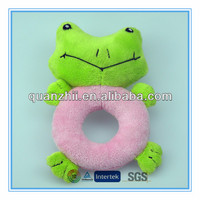 Plush frog baby rattle toy for kids