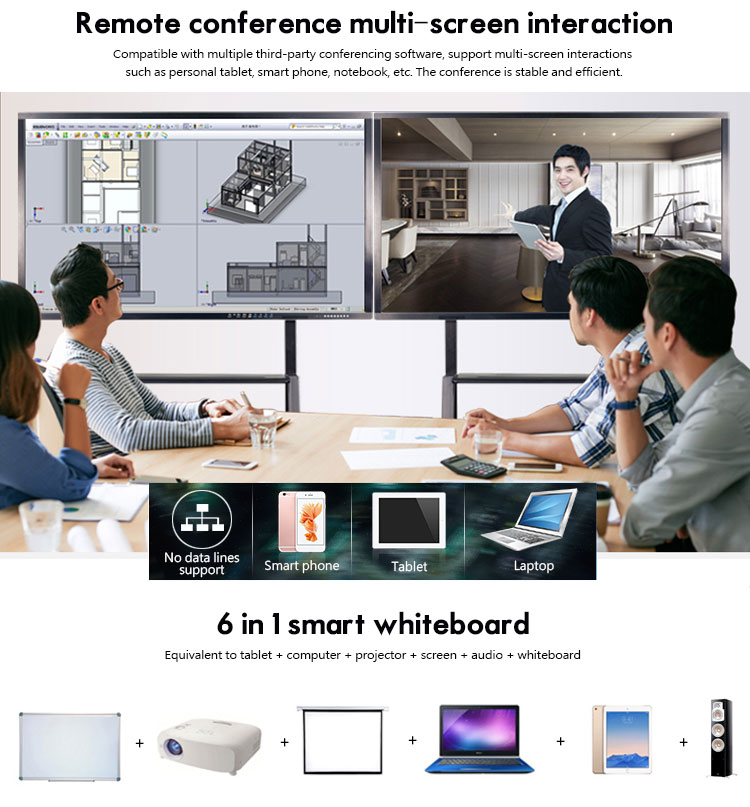 Portable 86 inch digital IR touch screen smart projector teaching interactive whiteboard for conference
