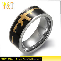Fashion stainless steel gold jewelry black enamel gun shaped rings for men