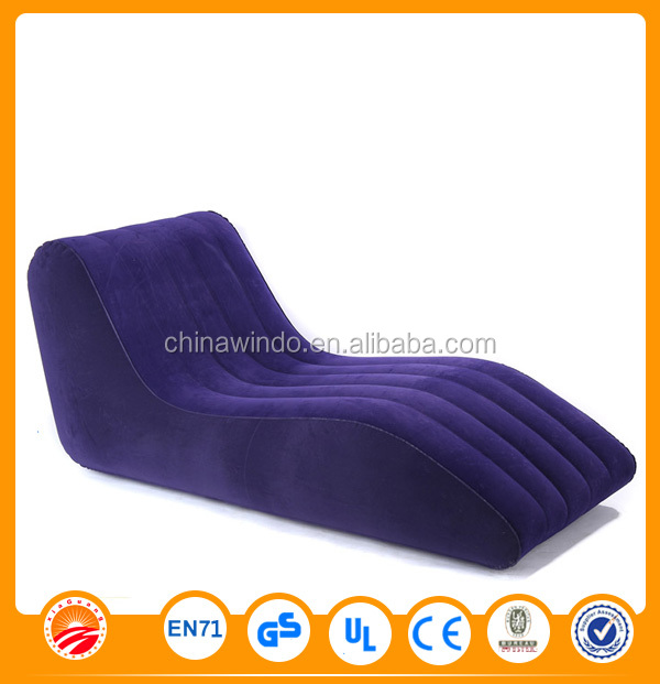PVC Flocking Inflatable Chair Folding Sofa For Adults
