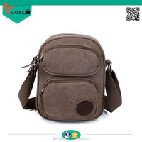 2015 fashion portable vintage daily used multi pockets contracted strong shoulder bag canvas bag for teenage boys
