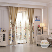 Modern embroidery floral grommet top curtain voile panels fabric for window