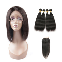 Top quality transparent lace frontal wig,human hair lace front closure ,brazilian hair bundles with closure