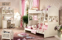 Children wooden bunk bed with stairs and bookcase,Children's Furniture Sets
