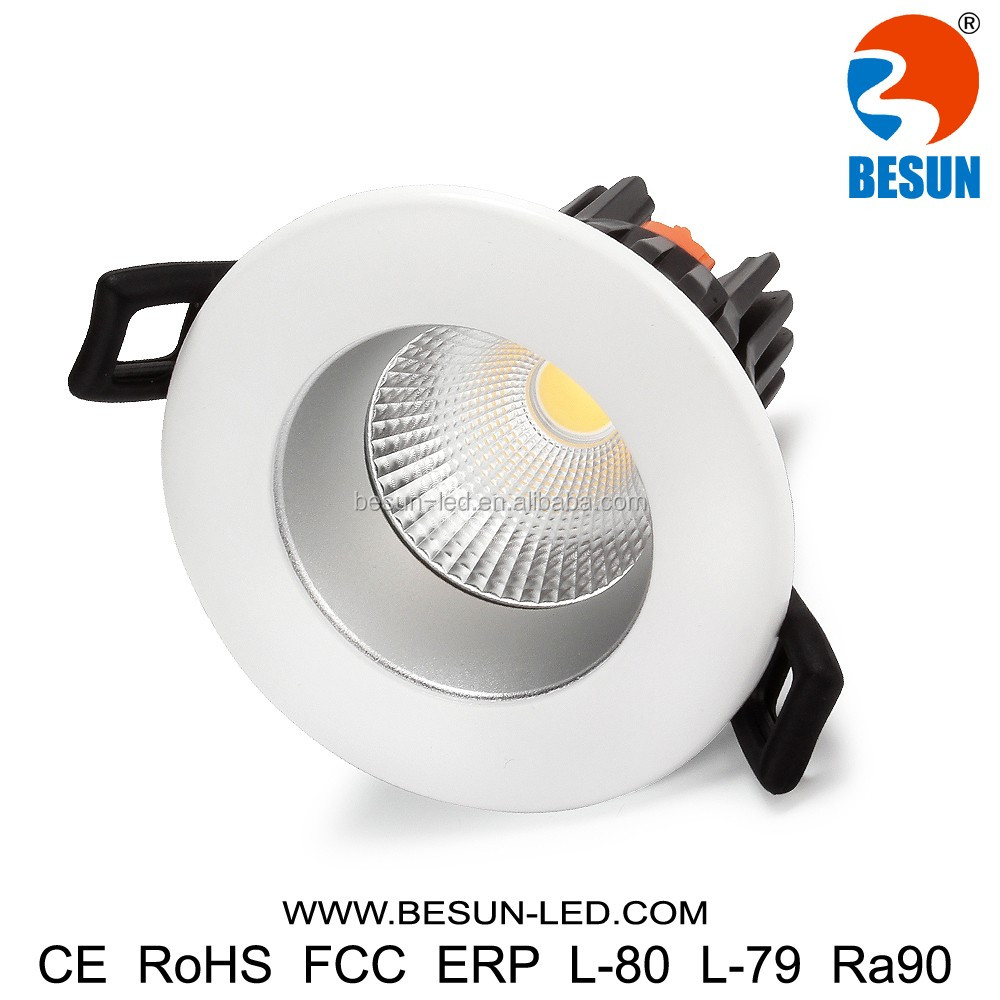 Warm white 3000k led home light 8w cob downlight fixture 700-800lm with gold anti- glare shield