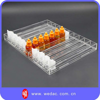 Retail auto-feed shelf display pusher acrylic e cigarette display stand