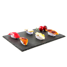 Factory Direct Sales Wholesale Natural Edge 30*20*0.5cm Rectangle Black Slate Stone Cheese Board <strong>Plate</strong>