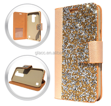 Alibaba China Wholesale phone cover Luxury crystal diamond flip stand wallet leather back cover case for LG Stylus 2 Plus MS550