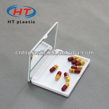 HTP013 Hot Sales Plastic 1 Compartment Jewelry Pill Box With Mirror