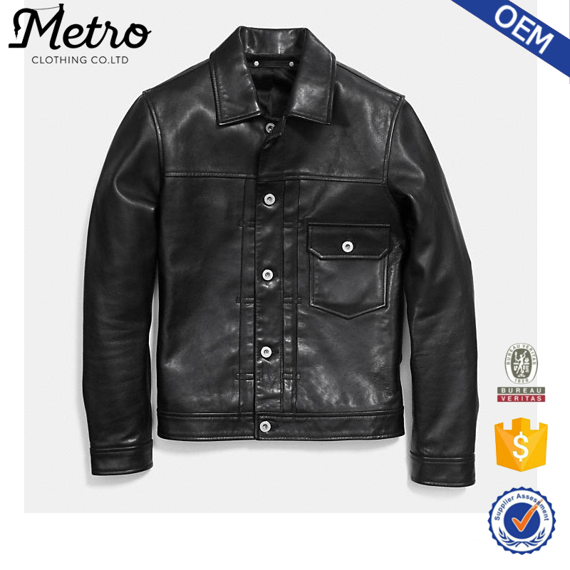 Button Up Design Men's Leather Jackets Motor Bike