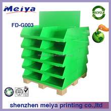 Meiya POP yellow fashionable flooring custom Cardboard Pallet Display stand/rack boxes for gifts/candy/toys