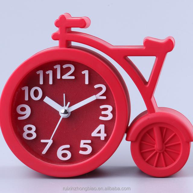 Red Bicycle Shape Plastic Promotional Clocks Time Plastic Clock Face Cover Desk Alarm Clock