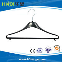 HBB505 Plastic clothes hanger printed logo hanger chroming hook hanger