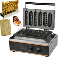 3 in 1 110v 220v Electric French Corn Dog Lolly Waffle On a Stick Maker Machine Baker + Waffle Stick Holder + Bamboo Stick