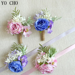 YO CHO Custom Made Flower Bracelet Hand Flowers Wedding Boutonnieres Wedding Wrist Rose Brooch Flower Wrist Corsage Bracelet