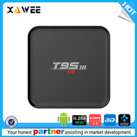 Newest KODI 16.0 full loaded HD1080p 1g 8g T95m Alomgic S905 tv box Android 5.1 quad core 2.4g wifi media player