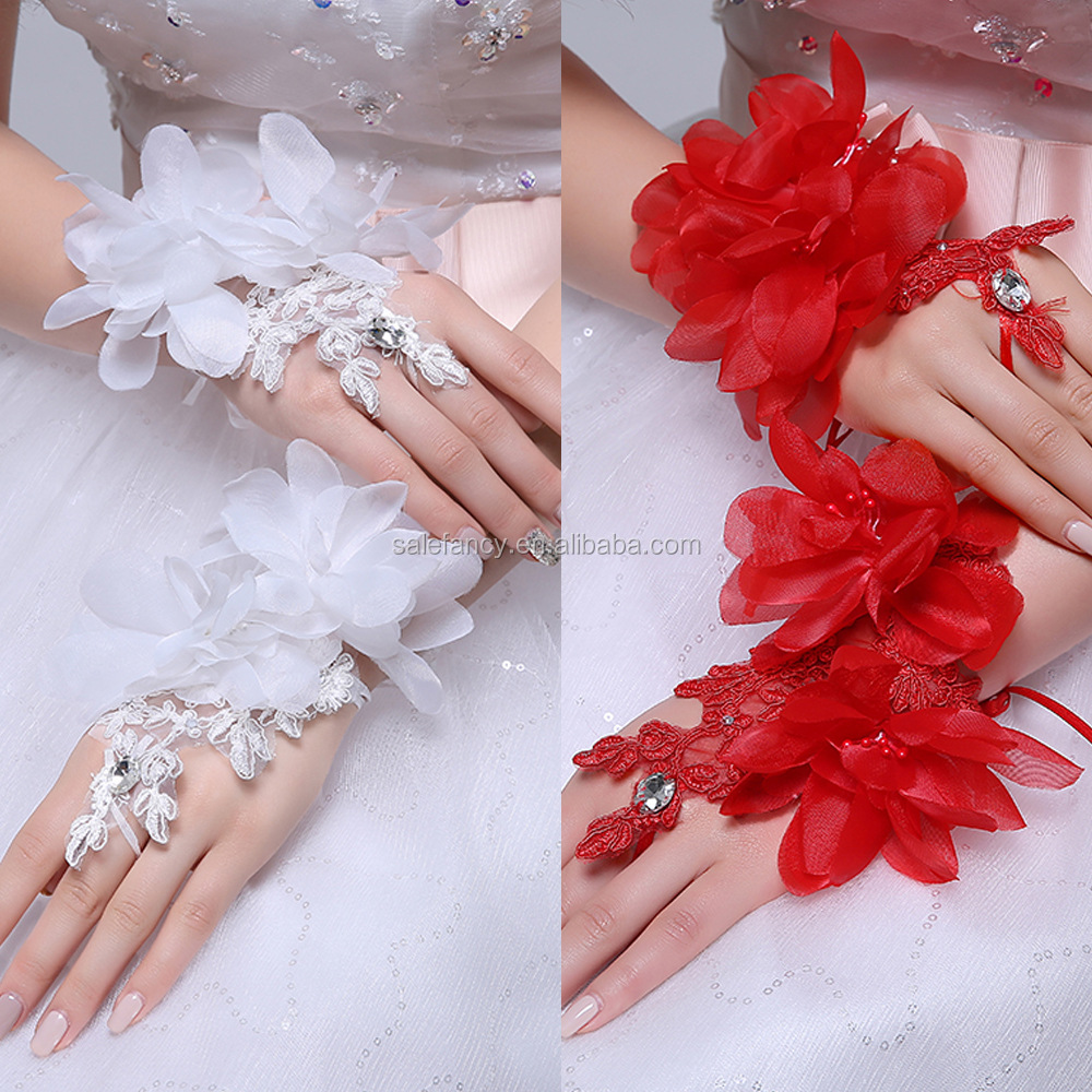 Red with white color nice design bridal glove spandex fingerless gloves lace QCGV-8356