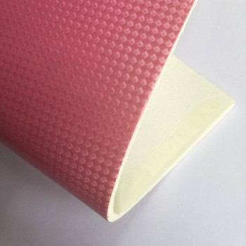 Low price laminated synthetic PU leather pink for football cover