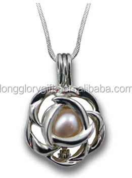 rose Flower cage locket pendants Hollow Silver Plated Bead Cage Pendant