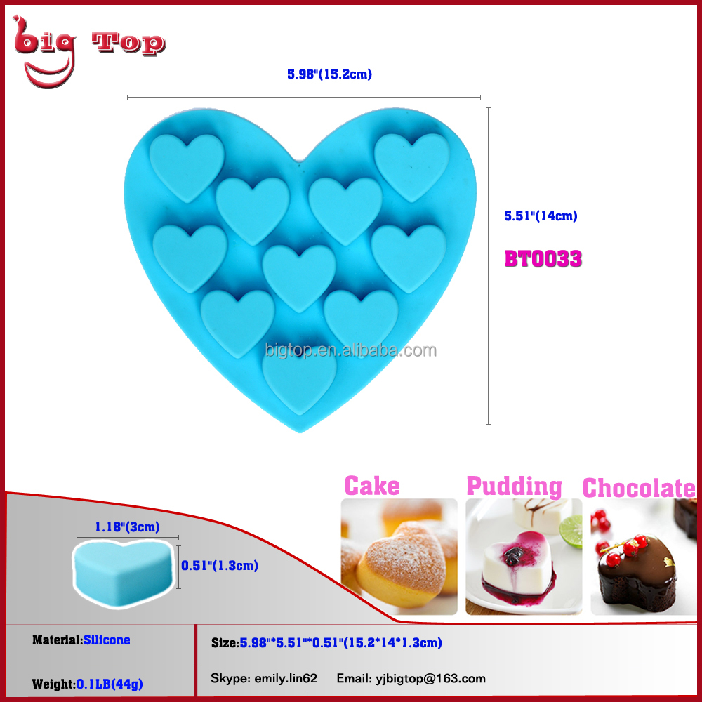 6 Inch Cake Tools <strong>Silicone</strong> Hot Sale 10 Holes Heart Shaped <strong>Silicone</strong> Cake Mould Chocolate mold