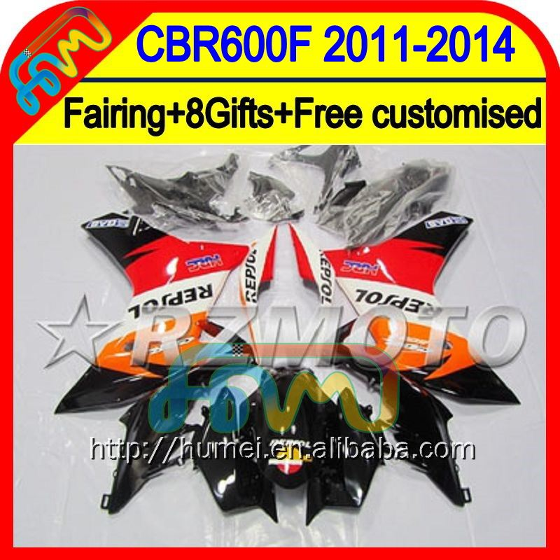 8Gifts For HONDA CBR600F Repsol 11-14 CBR600 F 11 12 13 14 29HM16 CBR 600F Orange 600 F 2011 2012 2013 2014 Injection Fairing