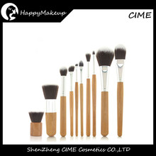 Wholesale High Quality Cosmetic 10pcs Synthetic Hair Bamboo Body Makeup Brushes With A Bag