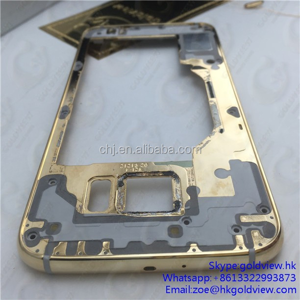 Factory wholesale 24kt mobile phone 24k gold frame for galaxy S6 housing,For Samsung S6 middle plate with shinny diamond