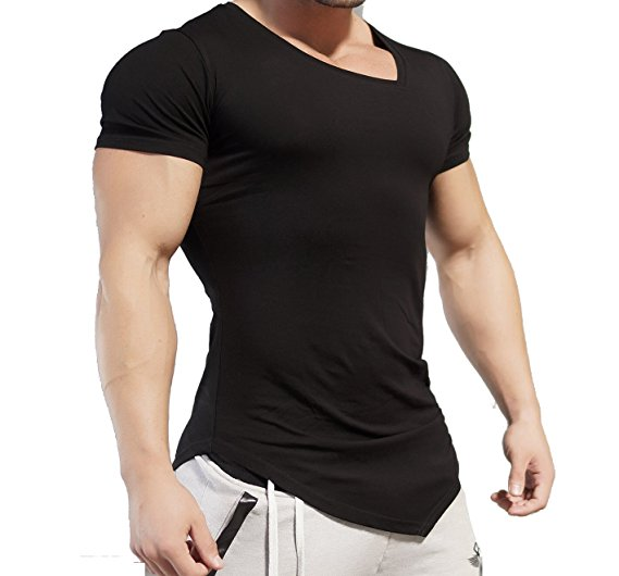 Men's Bodybuilding Muscle Training Short Sleeve plain gym T shirt