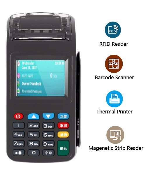 Handheld POS Terminal with internal printer support smart card reading