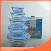 set 5pcs of glass salad bowl with blue colored lid