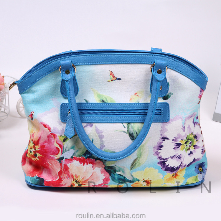 Chinese Style Cottom Fabric Printing Flowers Ladies Practical Handbags of Large Capacity