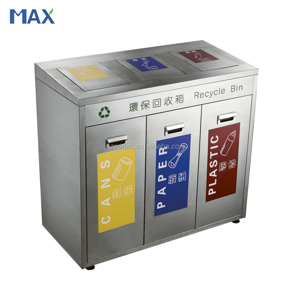 Large Capacity Classified Recycle Stainless Steel Outdoor Metal Garbage Can