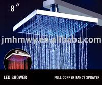 "8"" 8 Leds bgr color brass rainfall LED head shower"