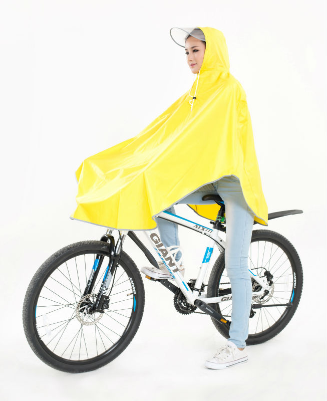 Japan good selling polyester rain poncho for bicycle in yellow color with reflective stripe