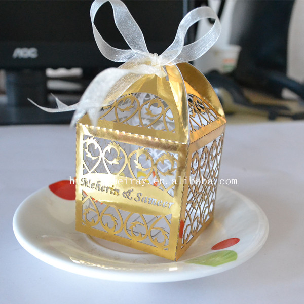 personalized gold &silver wedding party favors gift box event party supplies box
