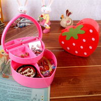Y077 Cartoon strawberry shaped double box /candy color makeup mirror four lattice multipurpose storage box