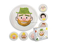 FOOD FACE plastic melamine cartoon dishes for Kid CHILDS PLATES w FACES FOR KIDS FOOD FUN BOY or GIRL DESIGN